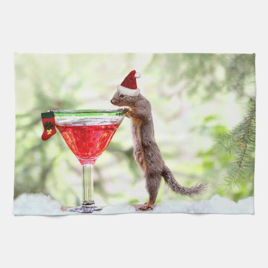 Christmas Squirrel at Happy Hour Hand Towel