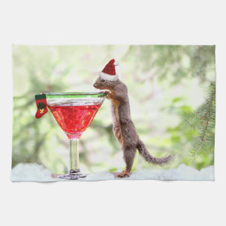 Christmas Squirrel at Happy Hour Kitchen Towel