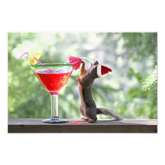 Christmas Squirrel Drinking a Cocktail Photographic Print