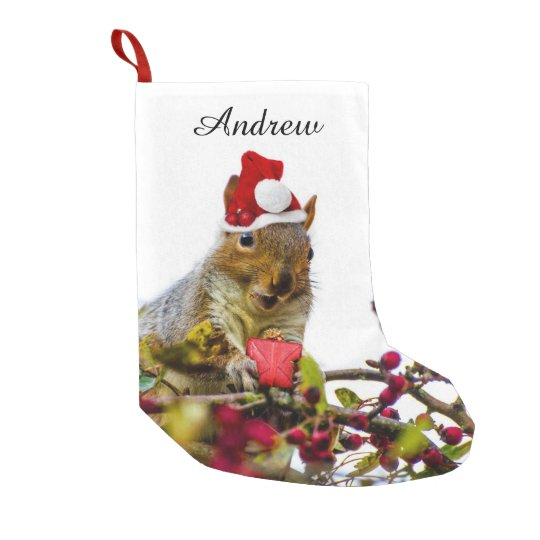 Christmas Squirrel personalized stocking Small Christmas Stocking