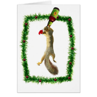 Christmas Squirrel with Beer Card