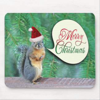 Christmas Squirrel with Evergreen Tree Background Mouse Pad