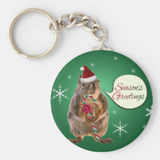 Christmas Squirrel with Snowflakes Keychain