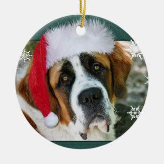 Christmas St. Bernard Dog Photo Round Ceramic Ornament