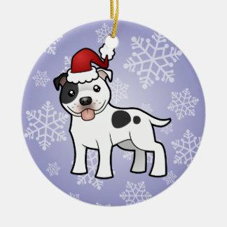 Christmas Staffordshire Bull Terrier Round Ceramic Ornament