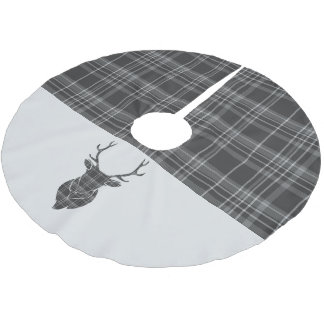 Christmas Stag Head Grey Tartan Brushed Polyester Tree Skirt