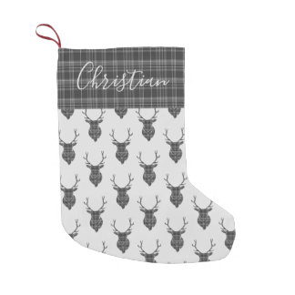 Christmas Stag Head Grey Tartan Personalized Small Christmas Stocking