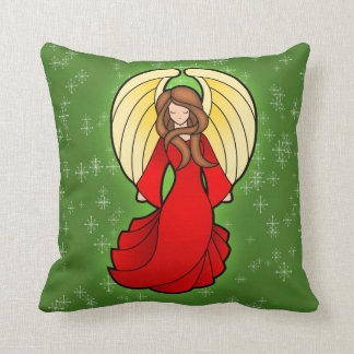 Christmas Stained Glass Angel Throw Pillow