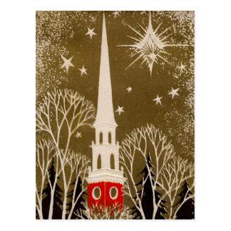 Christmas Star and Steeple on Gold Postcard