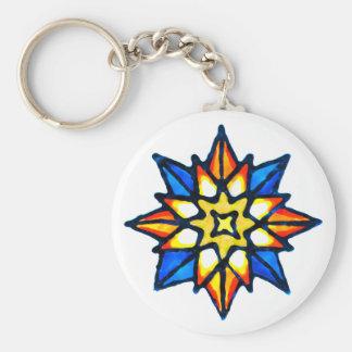 Christmas Star Basic Round Button Keychain