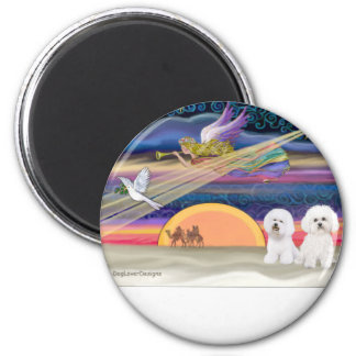 Christmas Star - Bichon Frise (two) 2 Inch Round Magnet