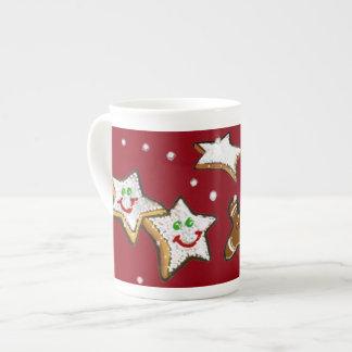 CHRISTMAS STAR COOKIES, GINGERBREAD MAN MUG BONE CHINA MUG