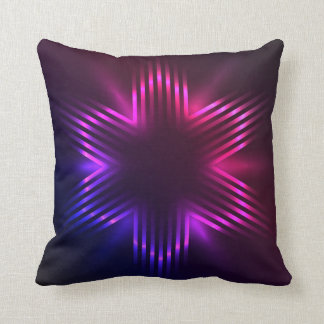 Christmas star formed of beams of purple light throw pillows