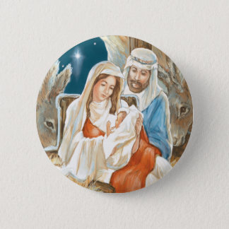 Christmas Star Nativity Painting 2 Inch Round Button