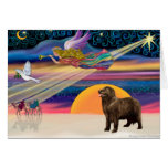 Christmas Star- Newfoundland (brown) Greeting Cards