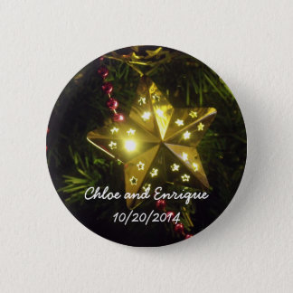 Christmas Star Personalized Holiday Wedding Button