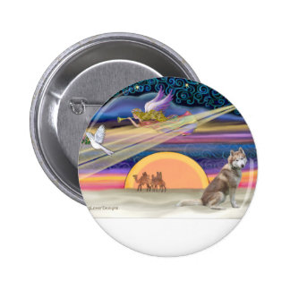 Christmas Star - Siberian Husky (red 2) 2 Inch Round Button
