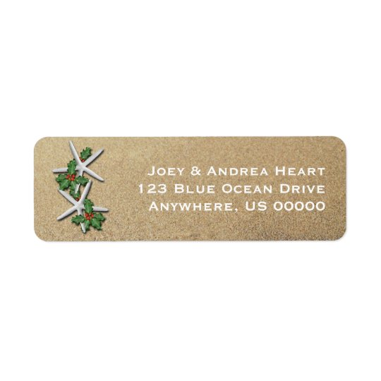 Christmas Starfish & Sand Skinny Address Label