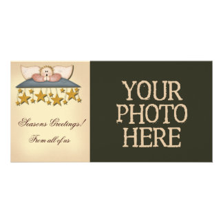 Christmas Stars Angel Photo Greeting Card