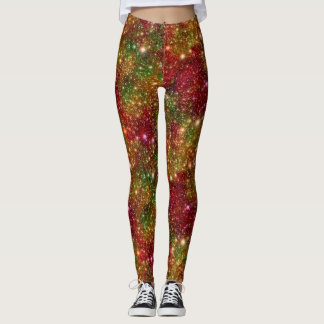 Christmas Stars Galaxy Cosmic Outer Space Glitter Leggings