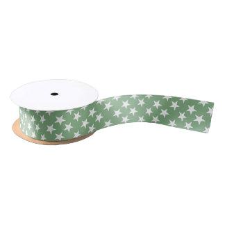 Christmas stars green and white satin ribbon