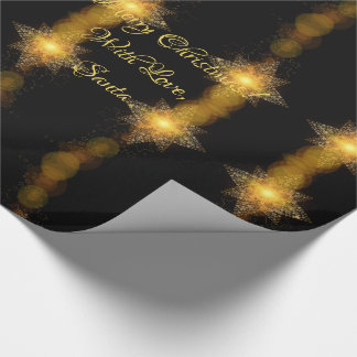 Christmas Stars Pattern Black and Gold Star Lights Wrapping Paper