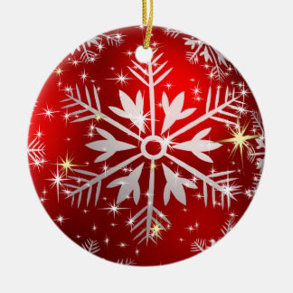 Christmas Stars & Snowflakes - Red Ceramic Ornament