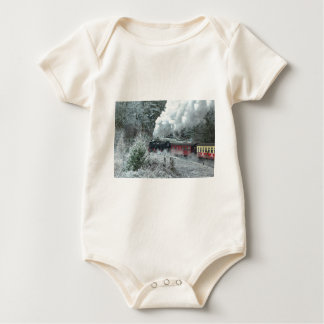Christmas steam locomotive baby bodysuit