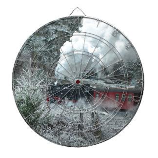 Christmas steam locomotive dartboard