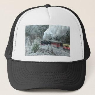 Christmas steam locomotive trucker hat