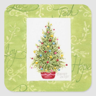 Christmas Stickers Chritmas Tree in Red pot