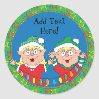 Christmas Stickers Elves. Personalize