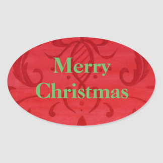 Christmas Stickers Merry Christmas Red Damask Oval