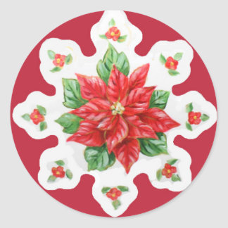 Christmas Stickers Poinsettia