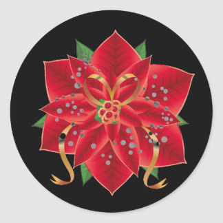 Christmas Stickers-Red Poinsettia Classic Round Sticker