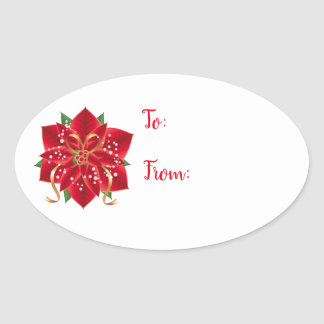 Christmas Stickers-Red Poinsettia Oval Sticker