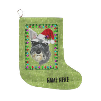 Christmas Stocking (add your name ) -- Schnauzer