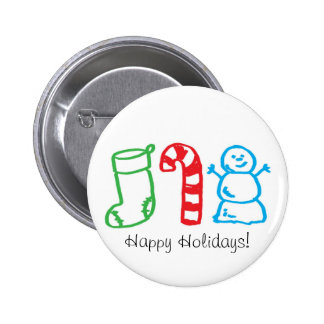 Christmas Stocking Candy Cane and Snowman 2 Inch Round Button