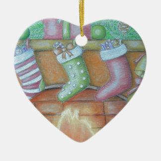 Christmas stocking ceramic heart ornament