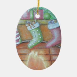 Christmas stocking ceramic oval ornament