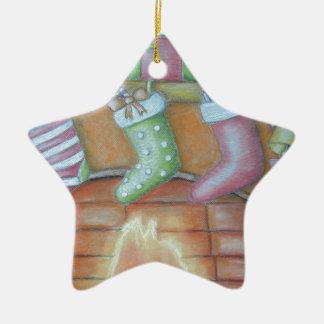 Christmas stocking ceramic star ornament