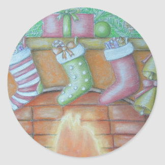 Christmas stocking classic round sticker