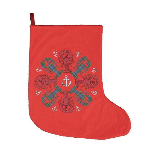 Christmas stocking Cute Lobster Nautical beach Large Christmas Stocking