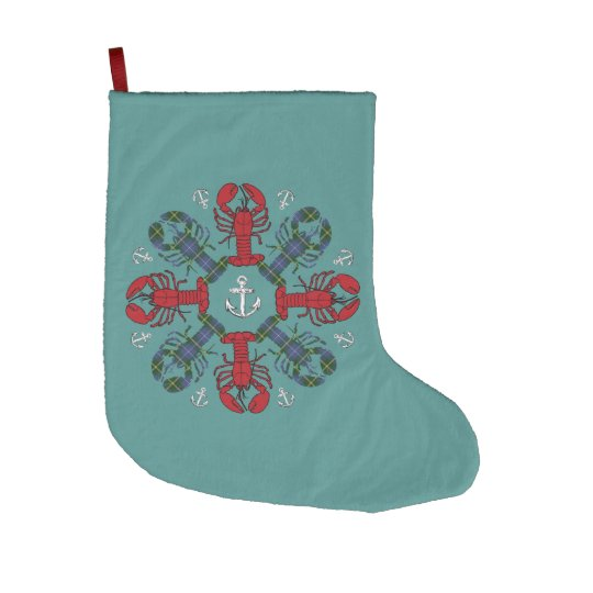 Christmas stocking Cute Lobster Nautical teal Large Christmas Stocking