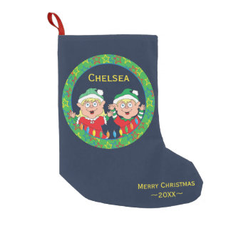 "Christmas Stocking ""Happy Elves"""