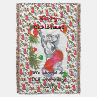 Christmas Stocking Holiday Blanket Kitty Cat 7 Throw