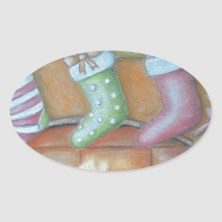 Christmas stocking oval sticker