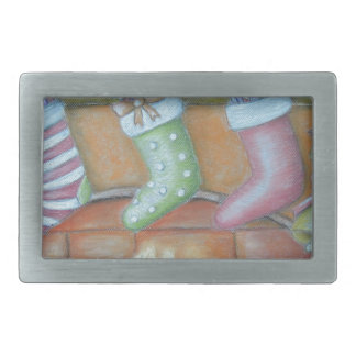Christmas stocking rectangular belt buckle