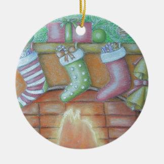 Christmas stocking round ceramic ornament