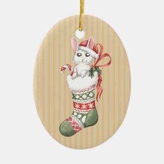 Christmas Stocking Series: Bunny Ceramic Ornament